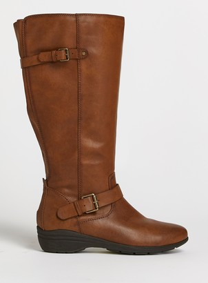 Evans EXTRA WIDE CALF Brown High Leg Boots