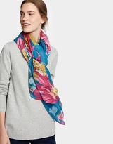 Joules Harmony Oversized Printed Scarf in Dark Topaz Clematis in One Size