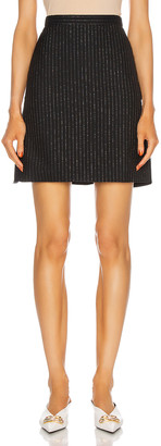 Alexander McQueen Stripe Mini Skirt in Black & Silver | FWRD