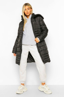 boohoo Tall Faux Fur Hooded Parka Coat