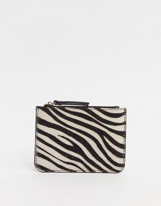 Urban Code Urbancode real leather zip coin purse in zebra
