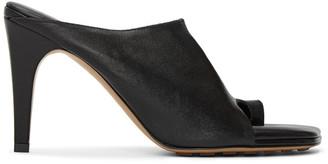 Bottega Veneta Black Leather 90 Thong Heeled Sandals