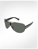 Signature Metal Strip Aviator Shield Sunglasses