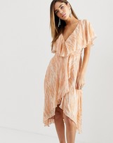 Asos Design DESIGN midi dress with cape back and dipped hem in blurred animal print