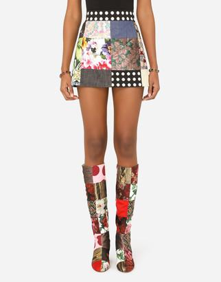 Dolce & Gabbana Patchwork Jacquard Miniskirt