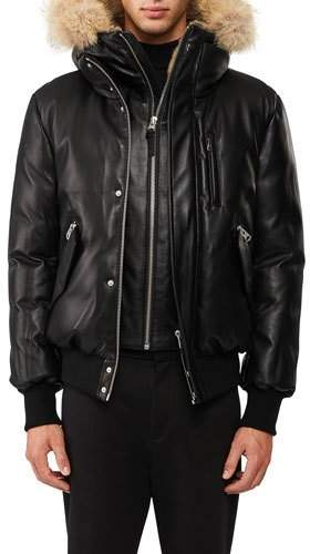 Mackage Glen Leather Down Bomber Jacket with Fur Trim
