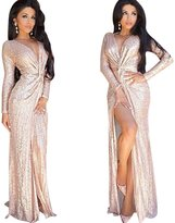 Moxeay Women Sequined V-neck Long-sleeved High Sliting Long Dress (M, )