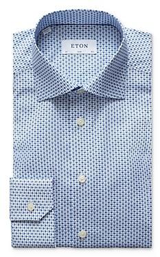 Eton Fan & Flower Pattern Slim Fit Dress Shirt