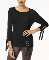 INC International Concepts Lace-Up Sweater, Created for Macy's