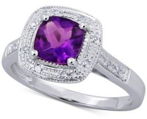 Macy's Amethyst (3/4 ct. t.w.) & Diamond Accent Ring in 14k White Gold (Also Available In Garnet, Mystic Topaz & Blue Topaz)
