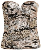 **Fly By Rose Gold Sequin Bustier Top by WYLDR