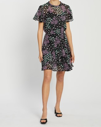 Dorothy Perkins Ditsy Chiffon Fit-and-Flare Dress