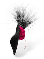 Philip Treacy Floral-appliquéd Feather-trimmed Headpiece - Black