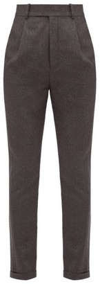 Saint Laurent Tailored Wool Flannel Trousers - Womens - Grey