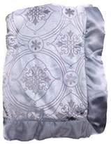 Wendy Bellissimo Baby Boys' Royal Grey Scroll Minky Velour Satin Trim Nursery Blanket