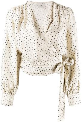 L'Autre Chose apostrophe print wrap blouse