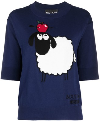 Boutique Moschino Sheep Intarsia Cotton Knitted Top