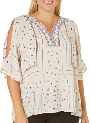 Democracy Women's Plus Size Embroidered Neck Tee W/Elbow Length Cold Shoulder