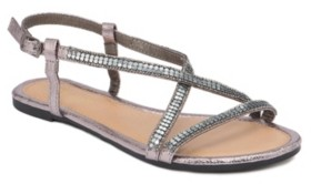 OLIVIA MILLER Treasure Multi Rhinestone Studded Sandals Women's Shoes