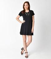 Unique Vintage 1970s Style Black Short Sleeve Lace Up Knit Shift Dress