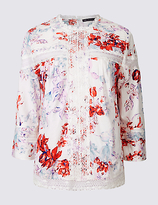 M&S Collection Pure Cotton Floral Print 3/4 Sleeve Blouse
