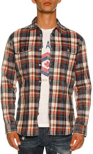 DSQUARED2 Bleached Check-Print Shirt