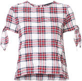 Jenni Kayne plaid tie-sleeve blouse