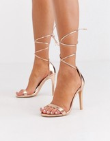 Glamorous Rose Gold Ankle Tie Heeled Sandals