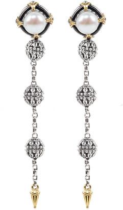Konstantino Kleos 8mm Pearl-Post Spike-Dangle Earrings