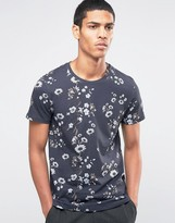 Selected Crew Neck T-shirt with All Over Floral Print