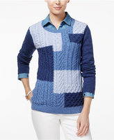 Tommy Hilfiger Carly Colorblocked Cable-Knit Sweater