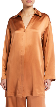 Co Long-Sleeve Button Front Silk Shirt