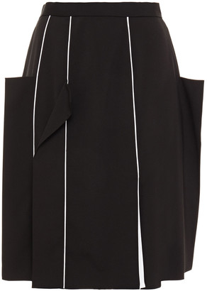 Burberry Two-tone Wool-blend Twill Skirt