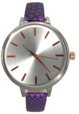 Preston Women's Snake Design Rosegold Accent Leather Strap Watch 40mm