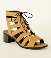 New Look Suedette Lace Up Ghillie Low Block Heels