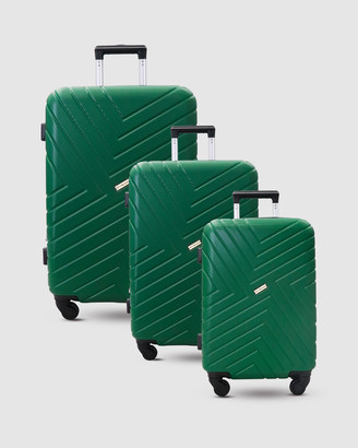 Jett Black Pine Green Maze Luggage Set