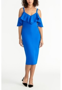 Rachel Roy Off The Shoulder V-Neck Ruffle Dress