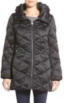 Kristen Blake Women's Hooded Diamond Quilted A-Line Down Coat