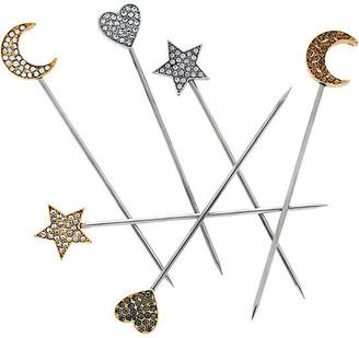 Joanna Buchanan Set of 6 Celestial Cocktail Picks - Silver/Gold