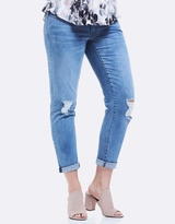 Soon Mila Distressed Slim Boyfriend Denim