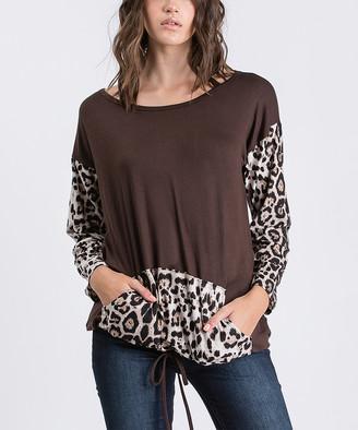 Cool Melon Women's Pullover Sweaters Brown - Brown & Leopard Kangaroo-Pocket Drawstring-Hem Pullover - Women