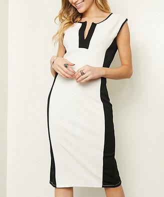 Glam Women's Special Occasion Dresses white - White Color Block Notch-Neck Sheath Dress - Women & Plus