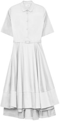 Co Short Sleeve Flared Dress in White