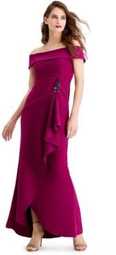 Adrianna Papell Cascade-Ruffle Gown