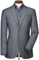 Classic Fit Chambray Semi-plain Cotton Jacket Size 42 Regular By Charles Tyrwhitt