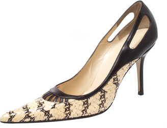Dolce & Gabbana Brown/Cream Python And Leather Cutout Pointed Toe Pumps Size 38.5