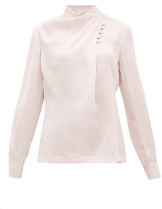 Gabriela Hearst Marcelina Draped-neck Hammered-silk Blouse - Pink