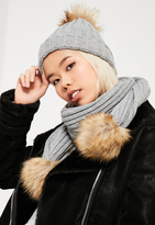 Missguided Grey Faux Fur Pom Pom Hat & Scarf Set