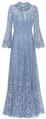 Valentino embellished floral-lace gown