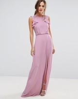 BCBGMAXAZRIA Mauve Ruffle Maxi Dress